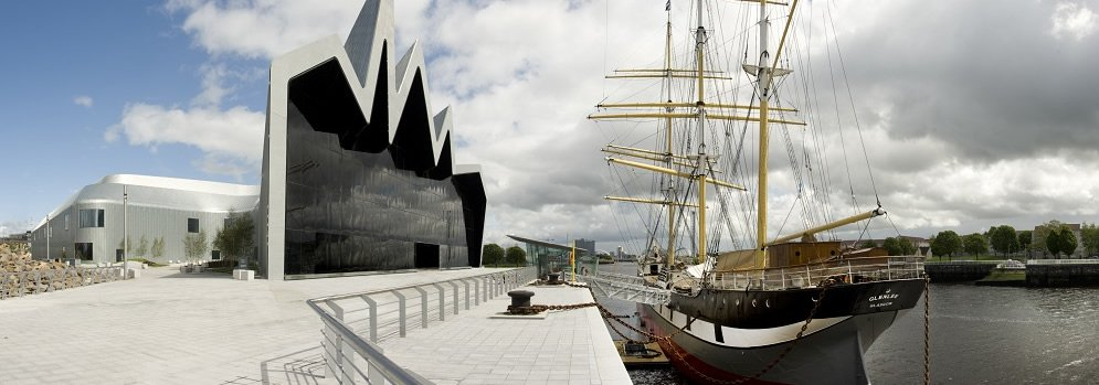 View of the Tall Ship beside the Riverside Museum in Glasgow
