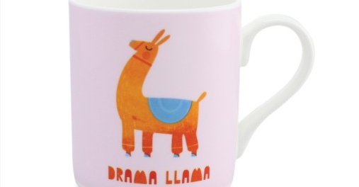 "Mug with a cartoon llama and ""Drama Llama"" written underneath, taken from UK Mugs collection."