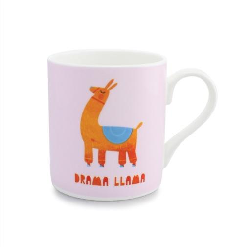 "Mug with a cartoon llama and ""Drama Llama"" written underneath, taken from UK Mugs collection."
