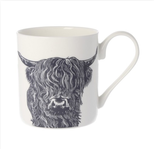 White mug with black and white highland cow drawn on the side, taken from UK Mugs collection at MS Mugs.